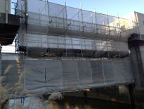 千葉県成田市の公共塗装工事(某水門) 足場の仮設工事 施工事例