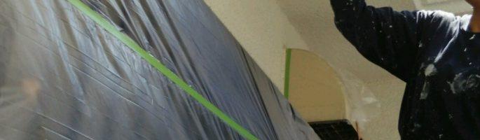 外壁の塗装工事(軒天下)を行っております|千葉県佐倉市のお客様宅にて