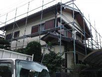 木造一戸建ての架設足場の組み立て工事 千葉市花見川区のM様邸