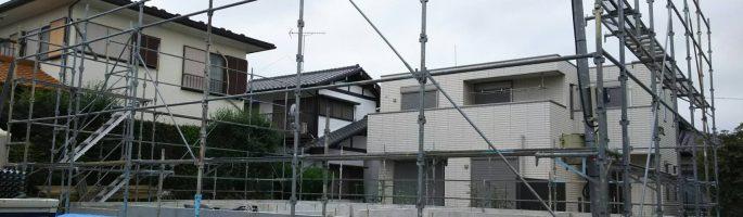 習志野市のG様邸にて新築住宅の足場工事