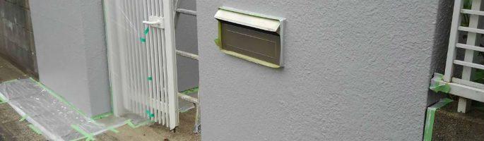 門柱の塗装工事|茨城県神栖市のH様邸にて塗り替えリフォーム中