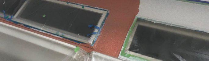 外壁の塗装工事(中塗り・上塗り)|千葉県習志野市の某賃貸アパートにて塗り替えリフォーム中