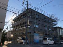 修繕工事に伴う仮設足場の組み立て|千葉県習志野市実籾のSマンションにて足場工事