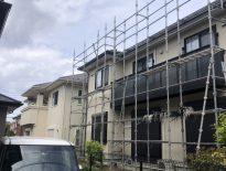 外壁の塗装工事に伴う仮設足場の組み立て|千葉県市川市のS様邸にて足場工事