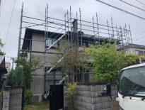 外壁・付帯部の塗装工事に伴う仮設足場の組み立て|千葉県船橋市のN様邸にて足場工事